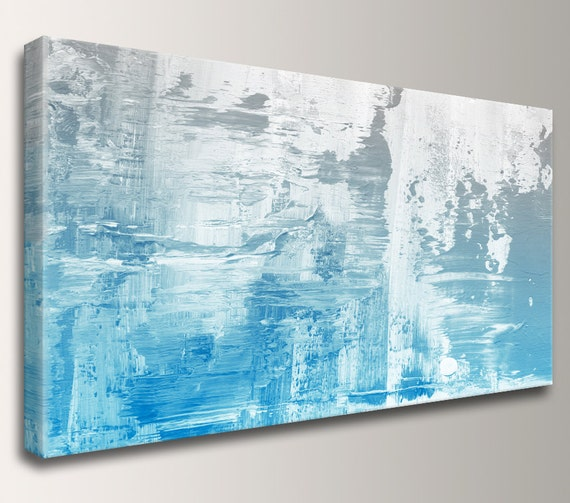 "Modern Abstract Painting Canvas Print of Original Painting Extra Large Art Painting in Blue White Modern Artwork for Bedroom ""Kinesis"""