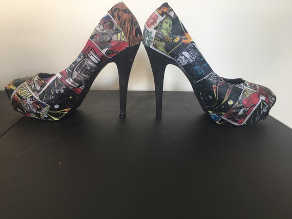 Womens with Wars book Star glossy fabric customizable high comic Vibrant heels x67rxZq
