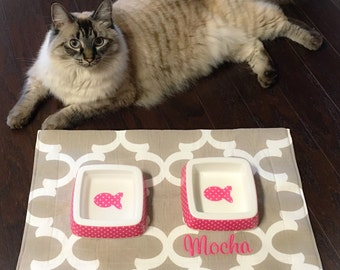 Dog Food Mat, Cat Food Mat, Dog Placemat for Food and Water, Personalized Water Proof Fabric Pet Food Mat, Dog Mats for Food