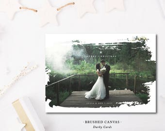 Brushed Canvas Printed Holiday Card |  Printed or Printable by DarbyCards