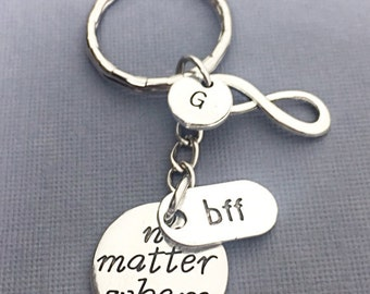 Personalized best friend keychain, friend charm, bff keychain, no matter where bff, initial keychain, custom, monogram, gift for best friend