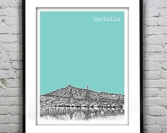 Marbella Spain Poster Art Print City Skyline