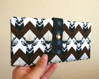 Majestic Stags with Brown Chevron - Long Wallet Clutch - Card Slots, Zipper, Cash