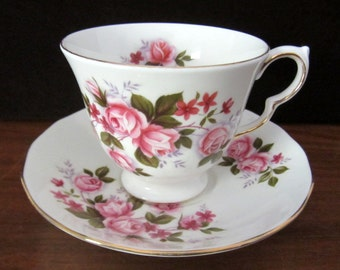 Queen Anne Pink Roses Bone China Tea Cup Or Coffee Cup And Saucer Set. Made in England