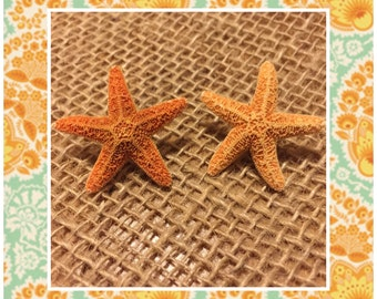 Starfish Earrings - Stud Earrings - Beach Star Fish Studs - Orange Starfish Earrings - Star Fish Ocean Stud Earrings