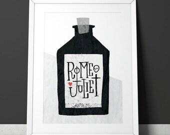Romeo and Juliet poison poster - Minimalist, mid-century modern monoprint style Shakespeare - A4 giclee print