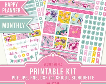 MAMBI PDF, July Monthly Kit, July Planner Sticker, Flower Planner Sticker, Summer Planner Sticker, MAMBI Planner Kit, Happy Planner, 17045