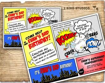 Superhero Invitation / Superhero birthday invite - DIY superhero birthday party printable