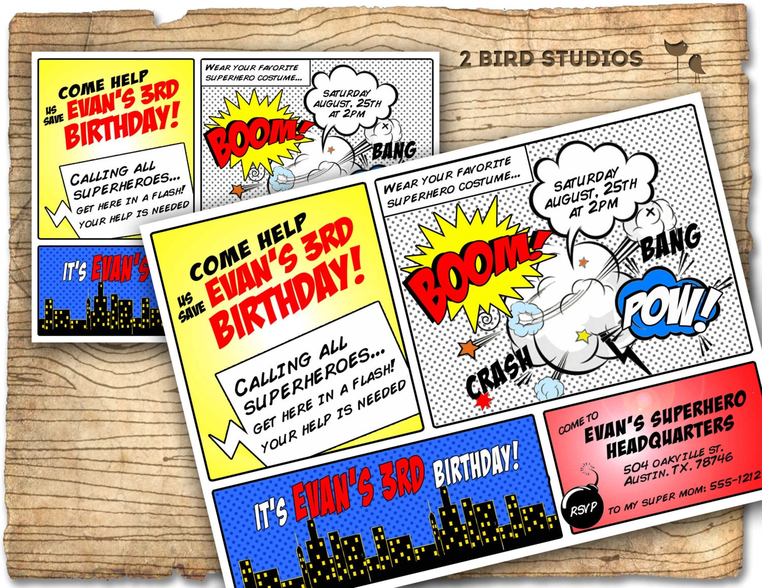Superhero Invitation / Superhero birthday invite DIY