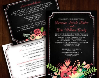 Colorful, Rustic Wedding Invitation