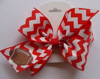 Football Hair Bows, Embroidered Clip, Chevron Barrette, Medium Hairbow, Fall Sports, Team Gift Idea, Zig Zag, Colors Custom, Boutique Kids