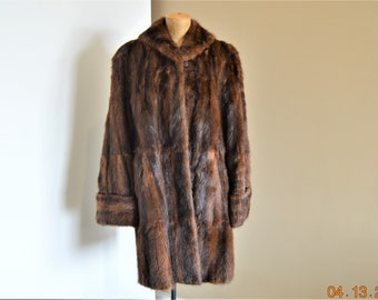 "Vintage Mink Fur Coat,Women's Wearable or Craft Supplies Cutter,Chest 34"" to 36"",No tears or holes but worn in a few Spots"