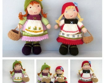 Fern and Flora doll knitting pattern - Waldorf inspired knitted doll - pdf INSTANT DOWNLOAD