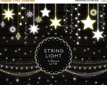 80% Until New Year - Lights clipart lights strings clip art PNG fairy lights Christmas lights wedding lights party lights digital light star