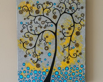 Original tree of life painting,Whimsical tree painting,Textured tree of life painting,Textured painting,Mixed media painting,16x20Unique art