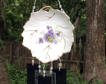 Vintage Leaf Shaped Dish with Violets Repurposed and Upcycled into a Windchime with Purple Stained Glass Chimes