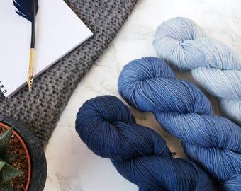 Hand dyed sock yarn, gradient yarn set, hand dyed yarn, Sockenwolle, handgefärbte Wolle, handdyed yarn, Featherfin PREORDER- Open Skies