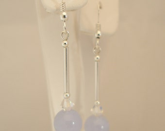 Blue Lace Agate, Crystal AB Swarovski Crystal and Sterling Silver Earrings