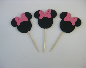 Minnie Mouse Cupcake Toppers, MInnie Mouse Party Decorations