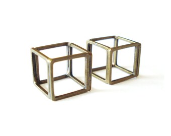 Antique Brass Cube Pendant • Open Square Spacer Beads • 12mm • 2pcs • PD_015_BB