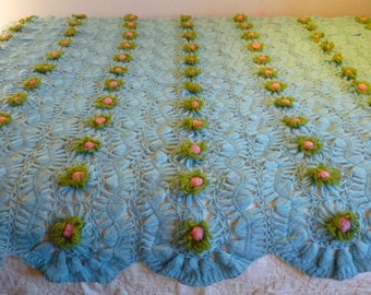 Vintage Handmade Hairpin Lace Crochet Baby Blue Blanket with Pink Green Flowers