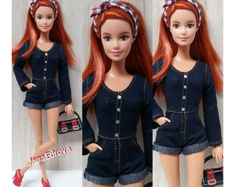 Denim overall for Barbie dolls with pockets