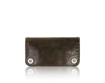 iPhone 6+, iPhone 7+, iPhone 8+ RETROMODERN aged leather wallet - - DARKBROWN