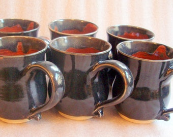 Wheel Thrown Pottery Mugs - Black, Brown and Amber - Several Available - On Sale
