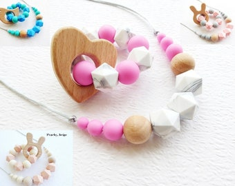 Teething necklace Teether toy Silicone teething necklace Mum and baby gift set Nursing necklace Baby teething toy Chewelry Newborn gift Chew