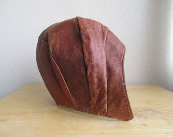 vintage 1940s soft leather motorcycle aviator helmet/hat- small