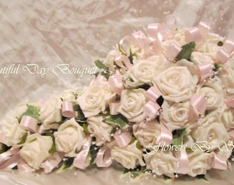 Wedding Flowers Pink And Ivory Wedding Bouquet Brides Teardrop Bouquet Pink And Ivory