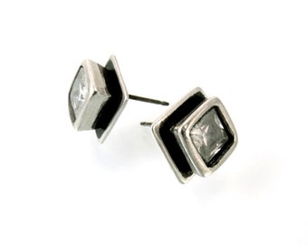 Sterling, Post Earrings, CZ, CZ Earrings, CZ Studs, Cz Posts, Stud Earrings, Silver Studs, Silver Posts, White Cz, Square Earring, 1192b