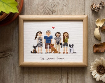 3-9 Adults. Mother's Day Gift, Custom Cross Stitch Family Portrait, Mother's Day, Pixel People, Fiber Art, Gift Ideas, Housewarming Gift