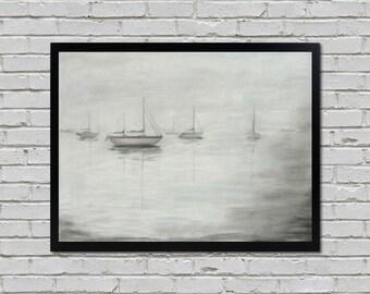 Foggy Boats Original Charcoal Drawing