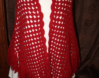 Red Crocheted Shawl