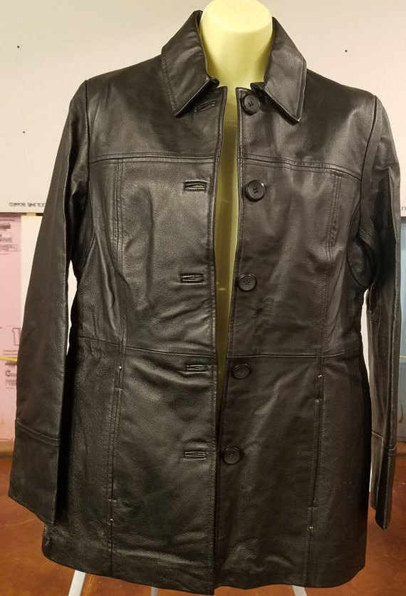 east 5th black leather jacket Women's size small button down blazer style