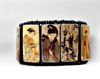 Geisha Dark Iridescent - Bamboo and Beads Cuff Bracelet
