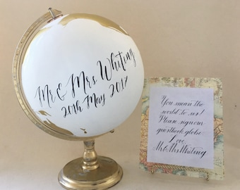 "Globe, Guestbook Globe, CUSTOM World Globe, Flowers, Floral, Wedding, Nursery,Anniversary,  12"" Large"