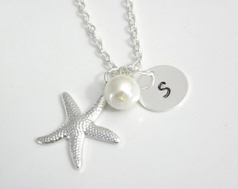 Set of 3 bridesmaid Personalized Starfish Necklaces, 3 pearl necklaces, sterling silver chain Necklaces, Starfish And Pearl, bridesmaid gift