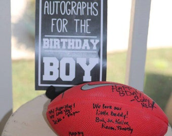 "Autographs for the birthday boy - Football party sign {printable} + ""Get your game face on"" sign"