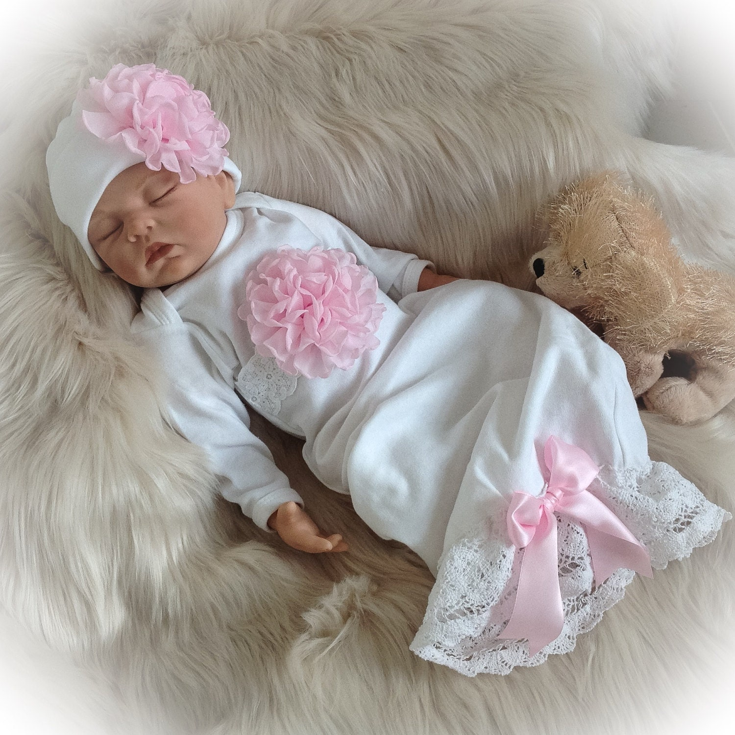 Newborn Girl Coming Home Outfit, Newborn Girl Gown, White and Pink ...