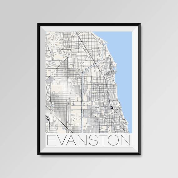 EVANSTON Illinois Map Evanston City Map Print Evanston Map
