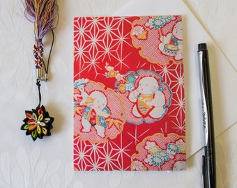 Kimono Fabric Greeting Card // Japanese babies