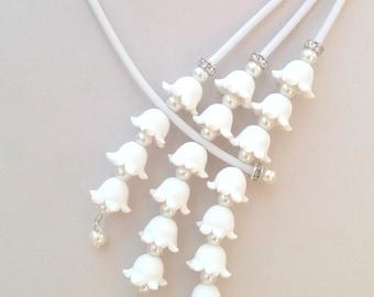Flower Jewelry, Wedding Jewelry, White Jewelry Set, Romantic Jewelry, Statement Necklace, Flower Earrings, Women Gift, White Necklace