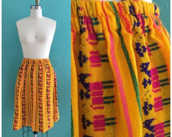 vintage 70's ethnic novelty skirt // weaved cotton skirt