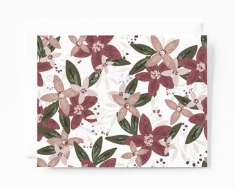 Floral Notecard Set | Illustrated Stationery Cards Folded with Blank Interiors: Floret Stationery Card Set