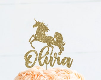 Unicorn cake topper unicorn birthday name cake topper unicorn theme party name topper first birthday gold cake topper unicorn party decor
