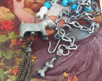 SCOTTY DOG TASSEL vintage antique assemblage necklace
