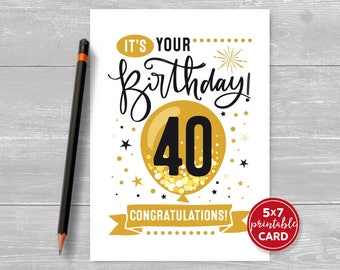 "Printable 40th Birthday Card - Congratulations Forty Balloon Birthday Card - 5""x7"" plus printable envelope template. Instant Download."
