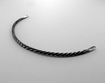 Infinity Spiral Choker Necklace, Stainless Steel, Artisan Jewelry